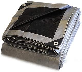 Heavy Duty Silver/Black Poly Tarp - 10 mil - 14x14 Weave - 100% Waterproof (15X30)