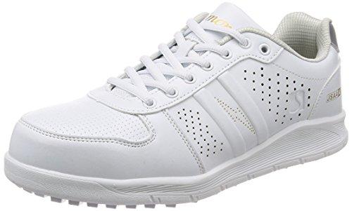 [シモン] プロスニーカー JSAA規格 耐滑 軽快 静電 短靴 スニーカー 紐 反射 NS611白静電 白 26 cm 3E