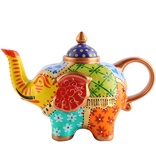 D'oramie Elefanten-Teekanne, dekorativ, handbemalt, aus Porzellan, 800 ml