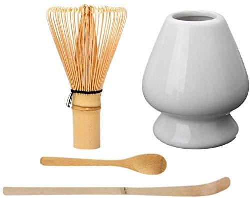 PALIDUO Juego de herramientas japonesas para matcha, pala de bambú, cuchara de bambú, batidor de bambú, soporte para batidor de cerámica, adecuado para ceremonias del té, color blanco