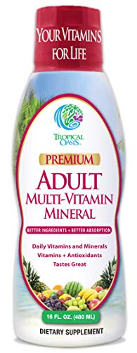 Tropical Oasis Adult Liquid Multivitamin -Liquid Multi-Vitamin And Mineral Supplement With 125 Total Nutrients Including; 85 Vitamins &Amp; Minerals, 23 Amino Acids, And 18 Herbs - 16 Fl Oz, 32 Serv