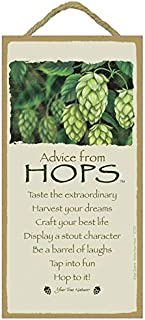 """SJT. Enterprises, INC. Advice from Hops / 5"""" x 10"""" Wood Plaque, Sign - Licensed from Your True Nature (SJT67291)"""