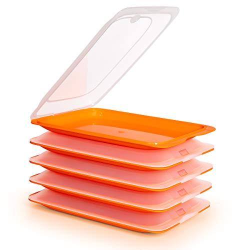 PracticFood Tatay 1180101 - Lote de 5 Porta Embutidos y Alimentos Fresh en Color Naranja