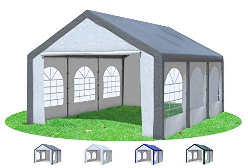 Stabilezelte Partyzelt 4x6 m Modular Pro PE 240 g/m² wasserdicht inkl. Seiten Festzelt Gartenzelt Grau Weiss
