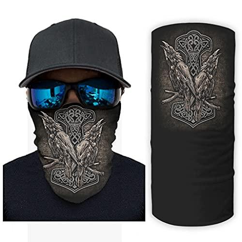 CCMugshop Bandanas para la cara, martillo vikingo, oin, cuervo celta, nudos, impresión de polvo, color blanco, talla única