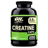 Optimum Nutrition Creatine 2500mg, Creatina en Cápsulas, Suplementos Deportivos de Creatina Monohidrato para Musculacion, Sin Sabor, 100 Porciones, 200 Cápsulas