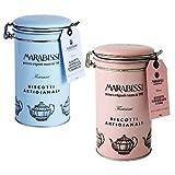Galletas Artesanales Marabissi: Canela, Chocolate y Naranja en Lata de Metal + Chocolate y Sal Marina en Lata de Metal - 2 x 200 Gramos