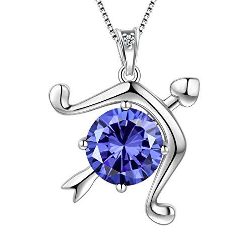 AuroraTears Schütze Halskette 925 Sterling Silber 12 Sternzeichen Anhänger Sternbild Dezember Birthstone Halskette CZ Horoskop Schmuck Geschenk für Frauen und Mädchen DP0134S