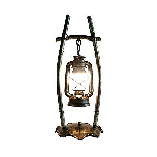 RANRANJJ Nouvelle lampe de table en fer forgé antique chinois Ancienne étude de chambre à coucher personnalisée restaurant lampe au kérosène lampe en verre dépoli lumière de bureau pour table basse sa