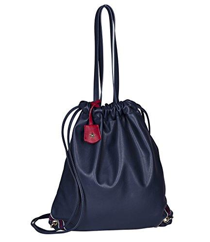 SIX Sporttasche in Leder-Optik: Damen Turnbeutel oder Shopper, für Sport und Freitzeit, mit Anhänger, Innenfutter blau-Weiss gestreift, Gymb (427-949)