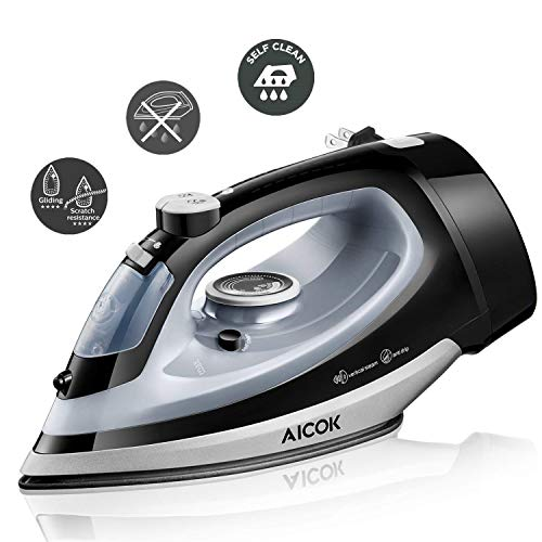 Steam Iron, AICOK 1700W Professional Grade Iron for Clothes, with Rapid Even Heat Nonstick Soleplate, Anti-Drip, Variable Temperature, Steam Control, Self-Cleaning & Retractable Cord