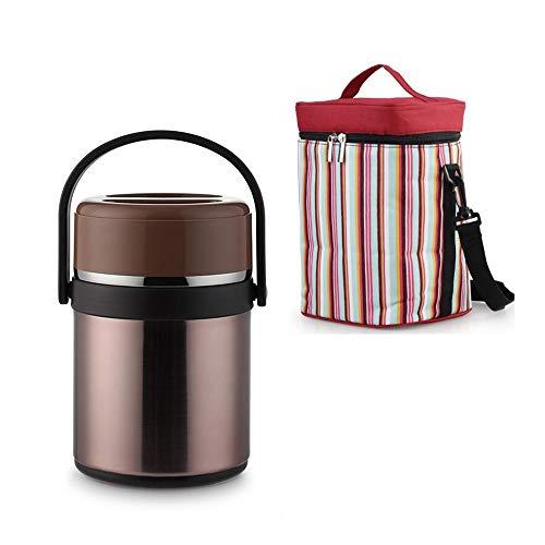 Startseite stapelbare Edelstahl Thermofach Lunch Box, mehrschichtiges Insulated Bento Box/Food Container mit Kühltasche GAONAN (Color : Brown)