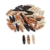 joyMerit 50 Botones de Palanca de Cuerno de Madera para Coser, 2 Orificios, Accesorios de Tela, 4 Cm X 1,2 Cm, para Coser, Tejer, Hacer Ganchillo, Hacer
