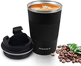 12oz Travel Mug, MOMSIV Insulated Coffee Cup with Leakproof Lid, Vacuum Stainless Steel Double Walled Reusable Tumbler for Hot and Cold Water Coffee and Tea In Travel and Car (Black - 380ml)
