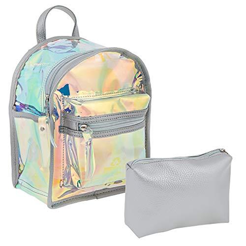 Starpak Mochila pequeña holográfica con láser transparente brillante y bolsa separada de 22 x 17 x 11 cm