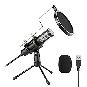 USB Microphone, AGPtEK USB Microphone Set with Tripod Stand, Pop Filter and Pop Filter Foam, Dual-Layer Accoustic Filter Plug & Play, Fit Recording, Singing, Youtube, Facetime, Podcasting and Games