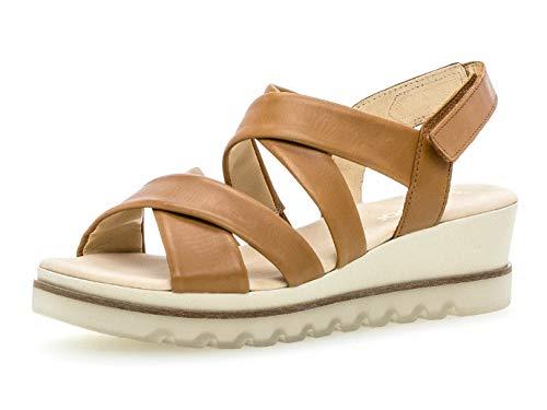 Gabor 23.644 Damen Sandalen,Keilsandalen, Frauen,Keilabsatz-Sandaletten,Keilsandaletten,Sommerschuh,flach,Best Fitting,Cognac,6.5 UK
