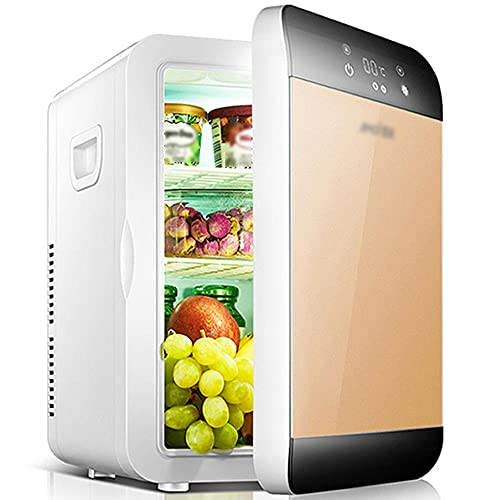16L Mini refrigerador Mini de gran capacidad, Dormitorio Coche para el hogar refrigerador, Calefacción y refrigeración refrigeradora 12V / 220V, AC/DC-oro b_16l