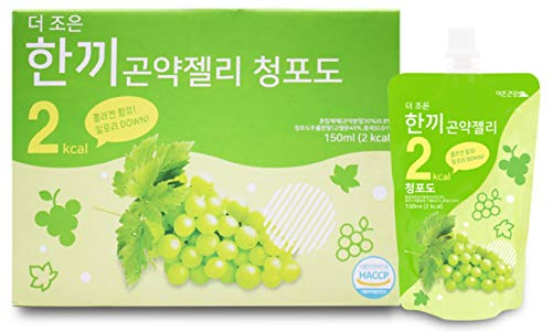 One Meal 2 Kcal Green Grape Flavor Konjac Jelly Fish Collagen Diet Food Weight Loss Vitamin C (1 Box 10 Packs)