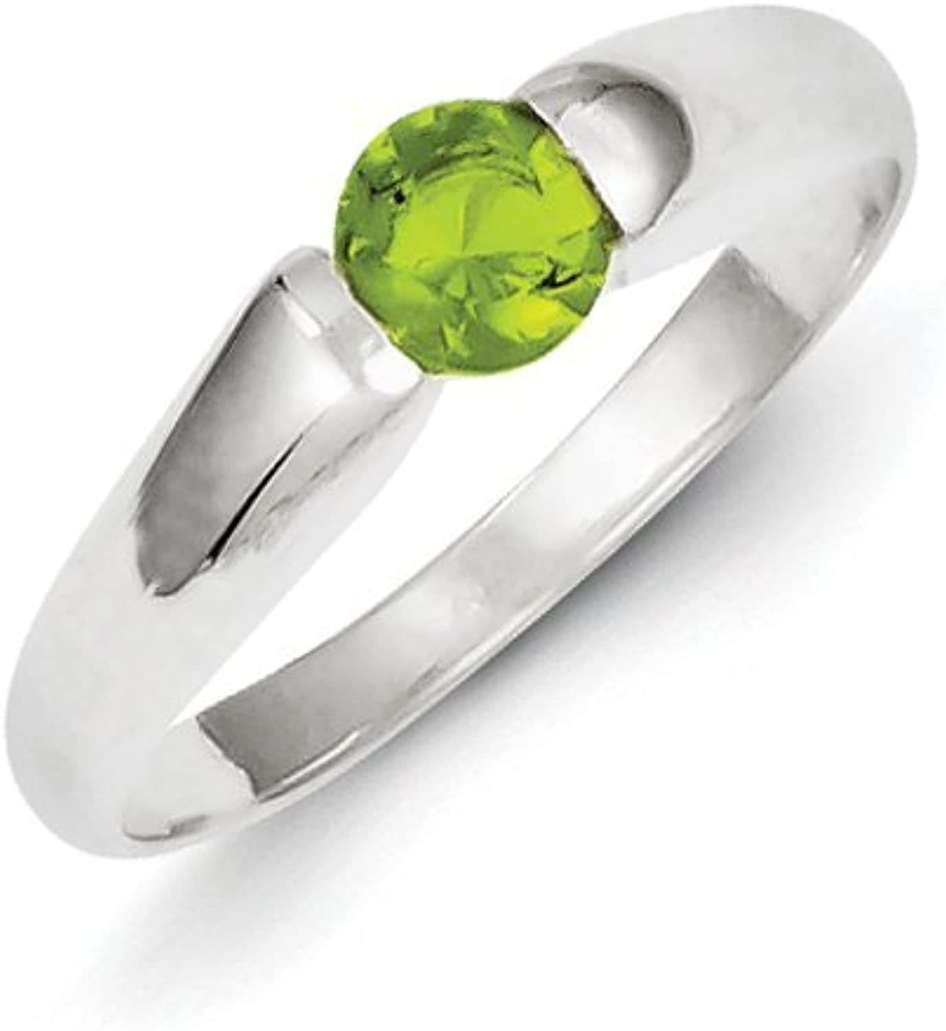 gold and Watches Sterling Silver Lime Green Round CZ Ring
