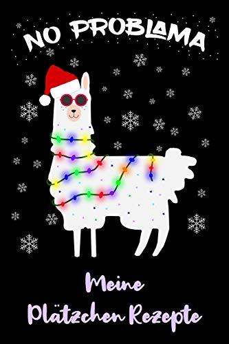 """Plätzchen Rezepte: Plätzchen Weihnachten zum eintragen in dein Lama Buch mit deinen Lieblingsplätzchen / DIN A5 - 6x9\"""" - 120 Seiten mit Rezeptvorlagen / Lustiges Lama mit Weihnachtsmütze"""