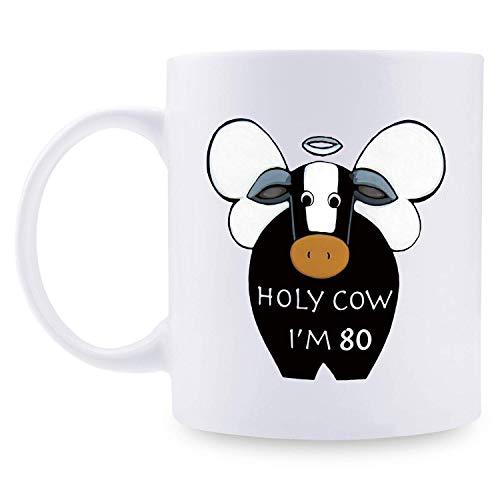 Taza de café para hombre de 80 años, regalo de cumpleaños para hombres, regalo de cumpleaños de 80 años para papá, marido, amigo, hermano, él, colega, cooperador, taza de vaca santa