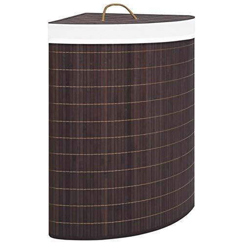 pedkit Cesto de Ropa Sucia de Esquina Cubo Colada Plegable con Tapa de Bambú Marrón 60 L 52,3 x 37 x 65 cm