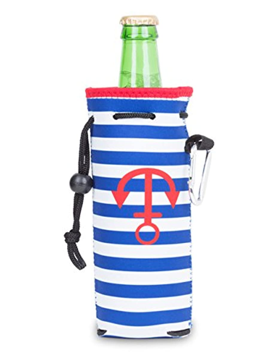 Zees Inc The Cool Sack-Neoprene Np807 Stripes With Anchor Pattern Water Bottle Cooler, Blue