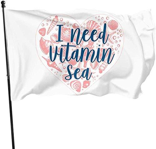 YANXIE Garden Flag Flagge/Fahne I Need Vitamin Sea Seashell Heart Decorative Garden Flags Outdoor Artificial Flag for Home Garden Yard Decorations 3x5 Ft