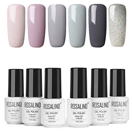 ROSALIND Vernis Semi Permanant UV Nail Art Lot Série Gris Clair Gel de Construction Pour Ongle Acrylique Beauty Salon 7ml