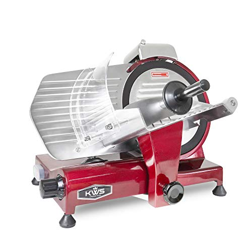 KWS MS-10XT Premium 320W Electric Meat Slicer 10-Inch in Red with Non-sticky Teflon Blade, Frozen Meat/ Deli Meat/ Cheese/ Food Slicer Low Noises Commercial and Home Use [ ETL, NSF Certified ]