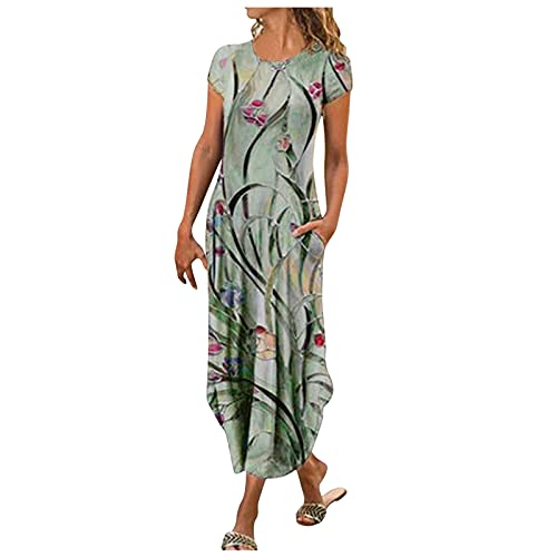 YANFANG Vestido Casual De Longitud Media Dividida Manga Corta Delgada Estampada para Mujer,Vestido Midi Dividido Largo Noche Fiesta Playa Larga,Verde,XL