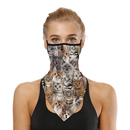 SRVOKOX Many Cats Animal Bandana Neck Gaiter Face Mask Covering Bandanas for Men Women Summer UV Cooling Face Scarf Mask Cover Ear Loop Hole Triangle Facemask for Fishing Running Cycling Hiking