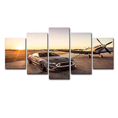 Schilderij 5-delige set, high-definition printen, muurschilderingen, moderne schilderijen, huisdecoratie schilderijen, canvas printen, sportwagen Vliegtuig 12X16/24/32Inch Zonder frame