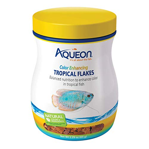 Aqueon Tropical Color Enhancing Flakes Fish Food, 2.29-Ounce