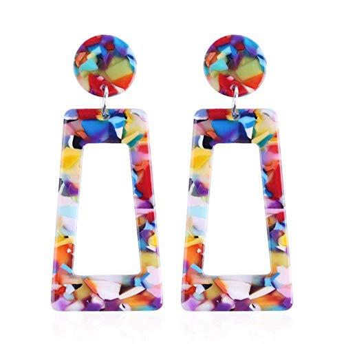 JIAJBG Colorido colgante geométrico colgante gota pendiente para las mujeres diseño simple acrílico Declaración pendientes partido joyería luz anillo de la oreja/colorido