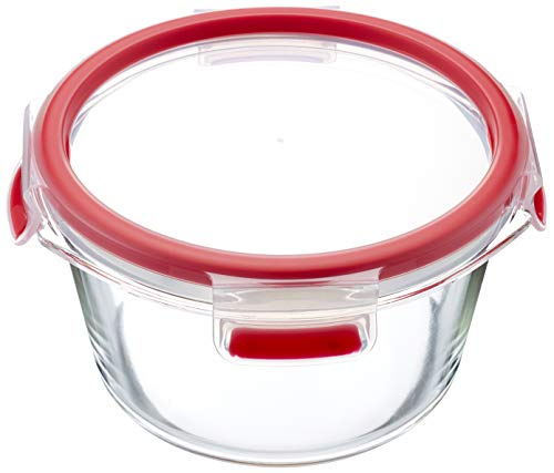 Emsa 516243 Clip und Close Runde Frischhaltedose mit Deckel | Glas | 0,90 Liter | transparent/rot