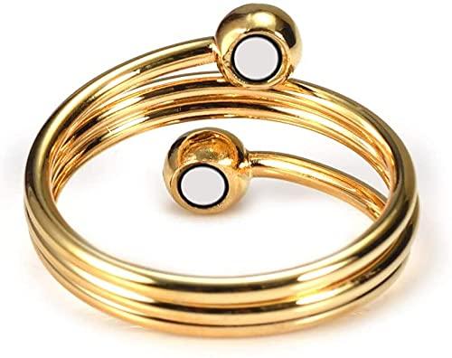 Anillo de cobre chapado en oro puro del 99,9% para la artritis con imanes anillos magnéticos alivio del dolor mujeres