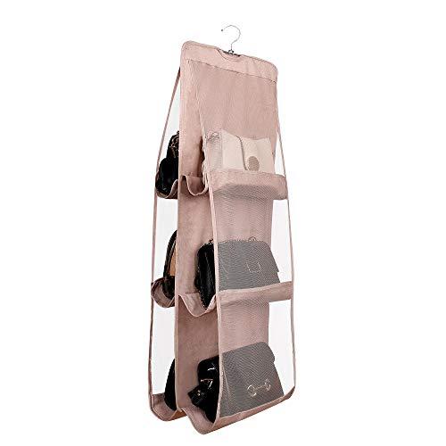 Borsa Organizzatore Armadio con 6 Tasche Traspiranti Storage Bag Organizer per Armadio Camera da Letto con Gancio per Borsetta Zaino Cappello Abiti Scarpe Cachi