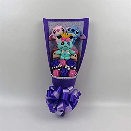 Mooie Cartoon Knuffels Lilo en Stitch en Mickey Mouse Boeket met Fake bloemen for Valentijnsdag Graduation Gifts Geen Box
