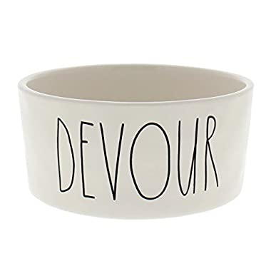 Rae Dunn Magenta Ceramic Pet Bowl Devour 6 Inch