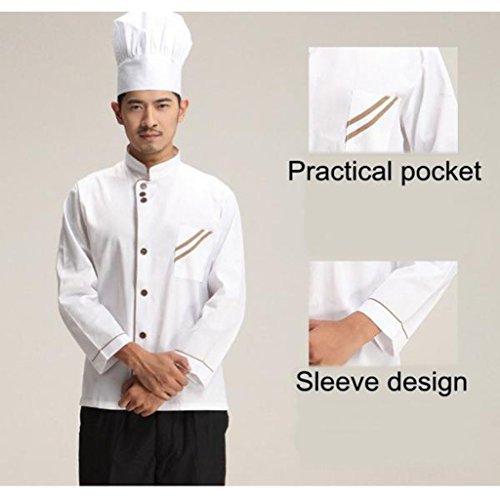 F Fityle Weiß Langarm Kochjacke Bäckerjacke mit Knöpfe Gastronomie Arbeitskleidung Koch Küchen Uniformen Kochkleidung – Weiß, XXL - 6
