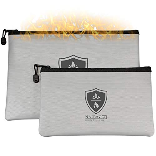 Fireproof Document Bag Waterproof Zipper Fireproof Safety Wallet can Store Money A4 documents Legal documents Valuables 2-Pack