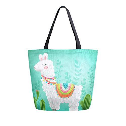 Einkaufstasche aus Segeltuch für Bücher, grüne Sukkulenten Pflanzen, Tiere, Basteln, lässige Schulterarbeit, Lunchtasche für Lehrer, Studenten, Mütter, Strand, Party