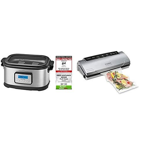 Profi Cook SV-1112 ProfiCook Sous Vide–Schongarer Topf und Vakuum für Küche Kochen bei niedrigen Temperaturen, 8,5l, 520W, grau/schwarz, 8.5 liters & CASO VC10 Vakuumierer - 30cm lange