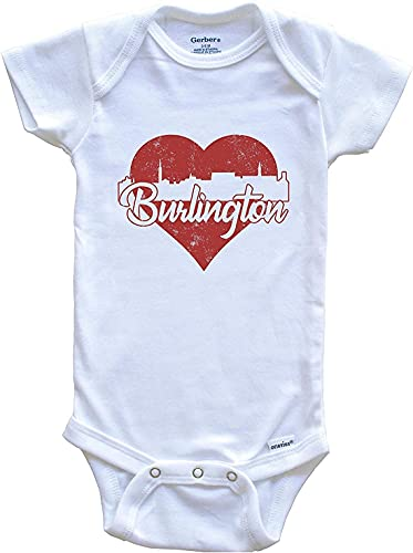 Retro Burlington Vermont Skyline Red Heart Printed Onesies Baby Girl Boy Meme Outfit Bodysuit