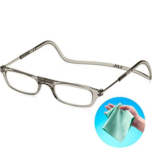 Clic Readers (クリックリーダー) リーディンググラス 老眼鏡 + 東レ トレシー クリーニングクロス セット (クリアグレー,+2.00)