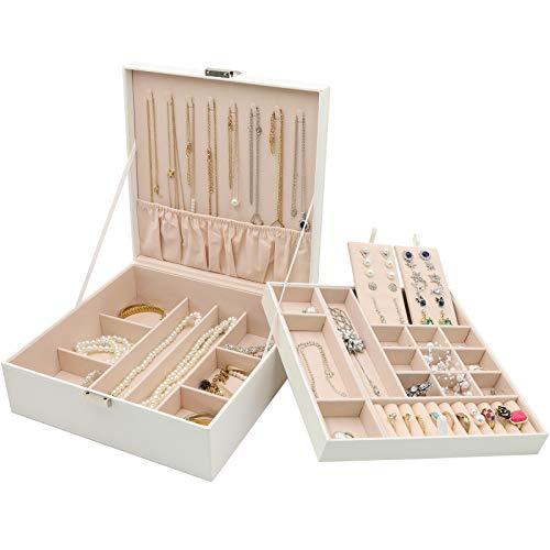 Procase Boîte à Bijoux Rigide en Cuir, Rangement à Double Couche, 32 Compartiments Grande Capacité, sans Perdre ou Abîmer Blanc