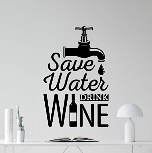 zqyjhkou Design Sparen Wasser Trinken Wein Küche Schwarz Wandaufkleber Esszimmer Dekoration Esszimmer Wandbilder 28x42cm