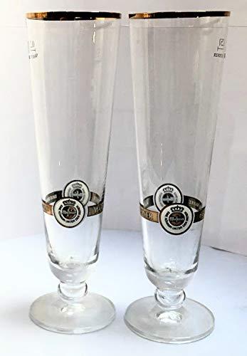 Warsteiner 0,25l Glas/Goldrand/Gläser/Bierglas/Biergläser/Gastro/Bar/Party / 2er Set